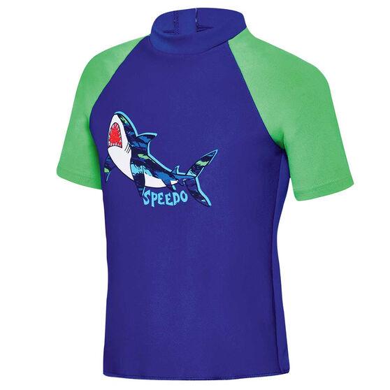 Speedo Boys Camo Shark Short Sleeve Sun Top Blue 2, Blue, rebel_hi-res
