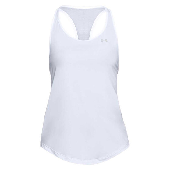 Under Armour Womens Mesh Back Tank, White, rebel_hi-res