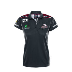 Queensland Reds 2020 Womens Media Polo Black / Red 8, Black / Red, rebel_hi-res