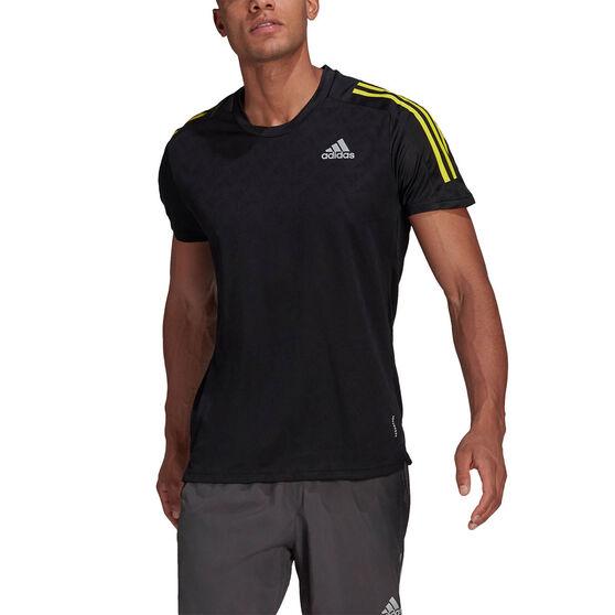 adidas Mens Own The Run Tee, Black, rebel_hi-res