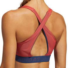 adidas Womens Don't Rest 3-Stripes Sports Bra, Red, rebel_hi-res