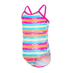 Zoggs Toddler Girls Love Stripe Yaroomba Flora Swimsuit Multi 2, Multi, rebel_hi-res