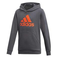 f016c102ce524 adidas Boys Must Haves Badge of Sport Hoodie Grey / Orange 6, Grey / Orange  ...