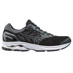 Mizuno Wave Rider 21 Mens Running Shoes Black / Silver US 8, Black / Silver, rebel_hi-res