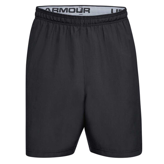 Under Armour Mens Wordmark Woven Shorts, Black, rebel_hi-res