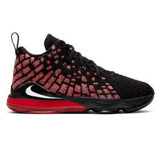 Nike LeBron XVII Kids Basketball Shoes Black / Red US 11, Black / Red, rebel_hi-res