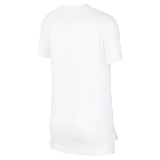 Nike Girls Sportswear DPTL Script Tee, White / Pink, rebel_hi-res