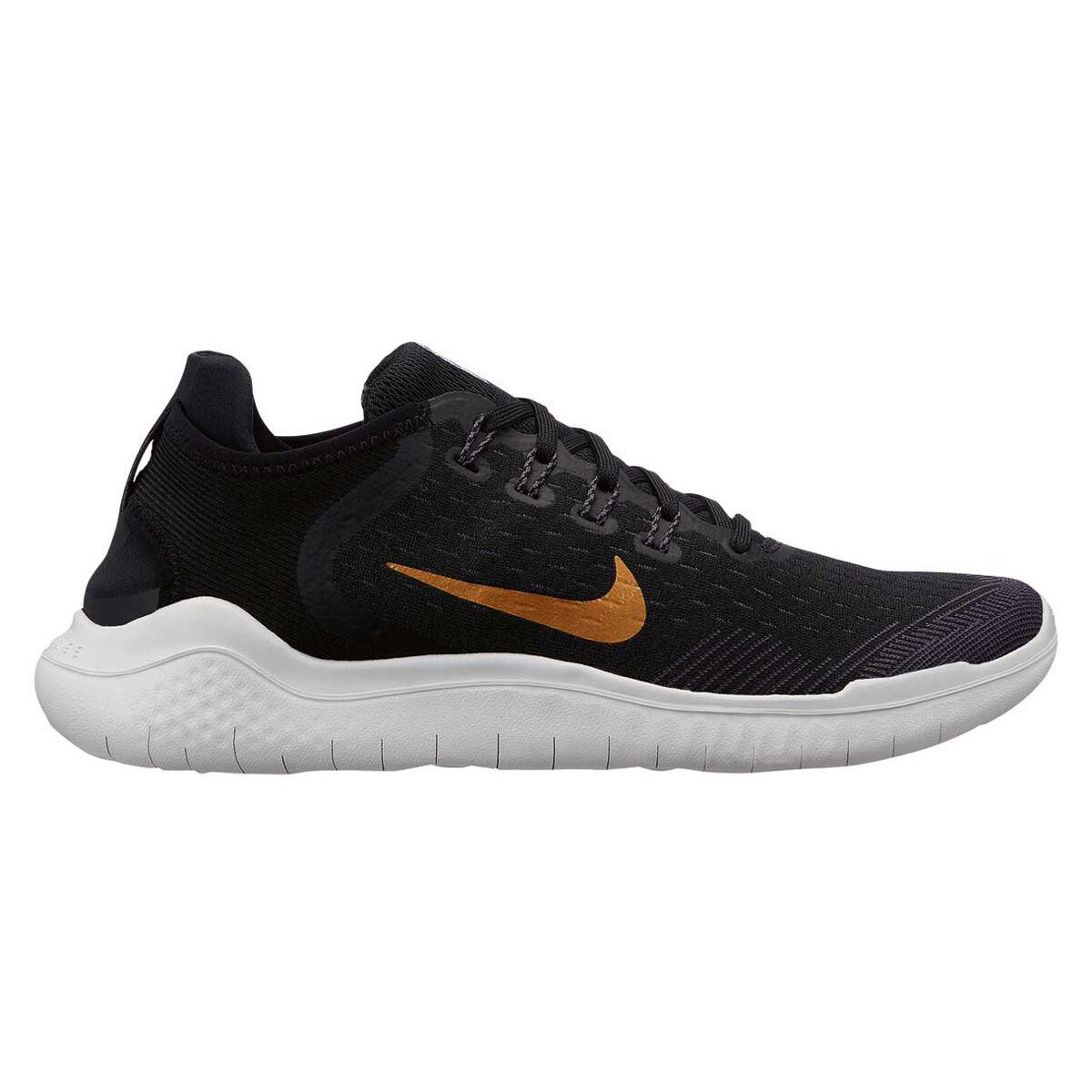Nike Free RN 2018 Womens Running Shoes Black Gold US 6.5