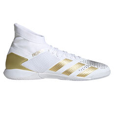 adidas Predator 20.3 Indoor Soccer Shoes White/Gold US Mens 7 / Womens 8, White/Gold, rebel_hi-res