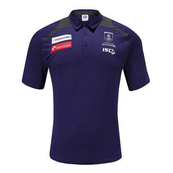 Fremantle Dockers 2020 Mens Performance Polo, Purple, rebel_hi-res