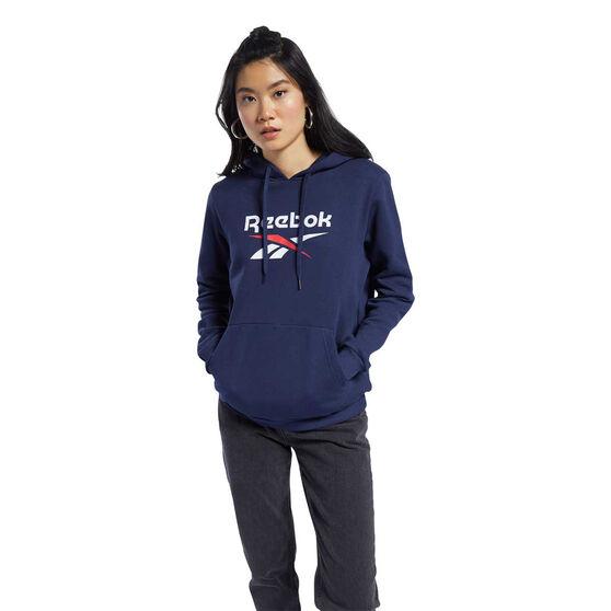 Reebok Womens Classic Big Logo Hoodie, Navy, rebel_hi-res