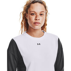 Under Armour Womens Rival Terry Crew Sweater, White, rebel_hi-res