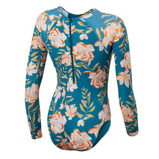 Roxy Girls Summer Of Surf Long Sleeve Swimsuit, Blue, rebel_hi-res