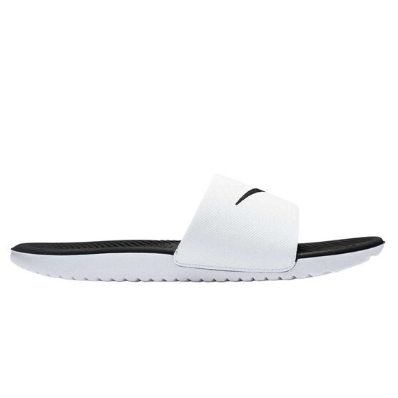 Nike Kawa Mens Slides, White / Black, rebel_hi-res