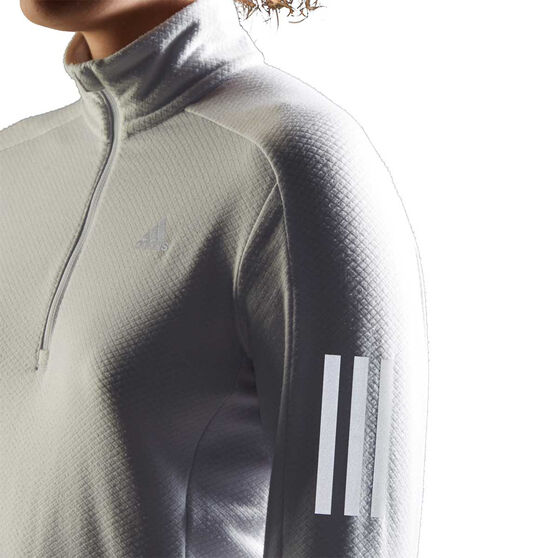 adidas Womens Own The Run 1/2 Zip Running Top Grey XL, Grey, rebel_hi-res