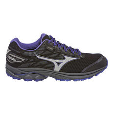 Mizuno Wave Rider 20GTX Womens Trail Running Shoes Black / Purple US 6, Black / Purple, rebel_hi-res