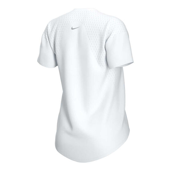 Nike Womens Dri-FIT Miller Metallic Running Tee, White, rebel_hi-res