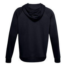 Under Armour Mens Volume Fleece Rival Full Zip Cotton Hoodie, Black, rebel_hi-res