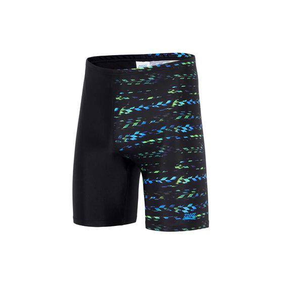 Zoggs Mens Jupiter Mid Jammer Swim Shorts, Black / Multi, rebel_hi-res