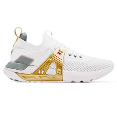 Under Armour Project Rock 4 Womens Training Shoes White/Gold US 6, White/Gold, rebel_hi-res
