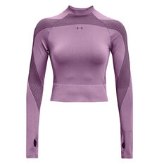 Under Armour Womens UA Rush Seamless Top Purple XS, Purple, rebel_hi-res