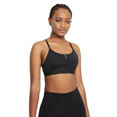 Nike Womens Dri-FIT Indy Zip Front Sports Bra Black XS, Black, rebel_hi-res