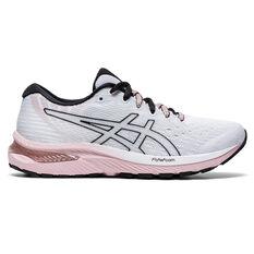 Asics GEL Cumulus 22 Womens Running Shoes White/Pink US 6, White/Pink, rebel_hi-res