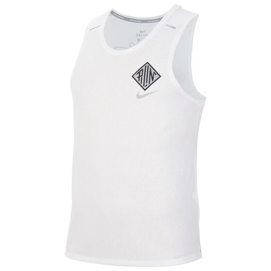 Nike Mens Dri-FIT Miller Wild Run Running Tank, White, rebel_hi-res