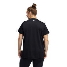 adidas Womens 3 Bar Logo Tee Plus, Black, rebel_hi-res
