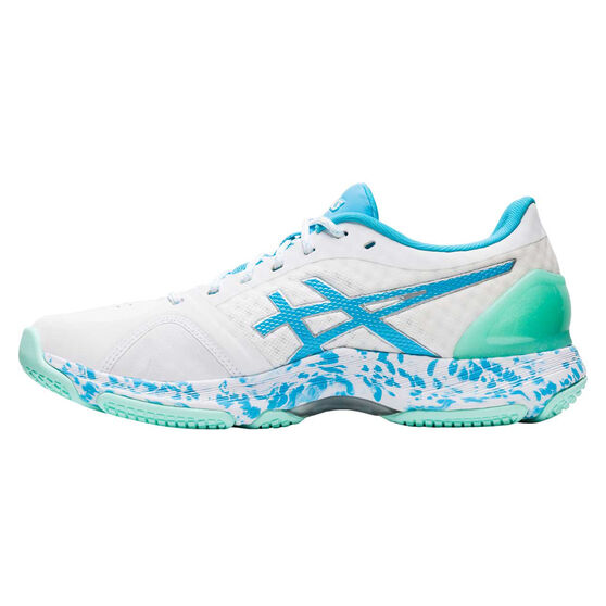 Asics Netburner Super FF Womens Netball Shoes, White / Blue, rebel_hi-res
