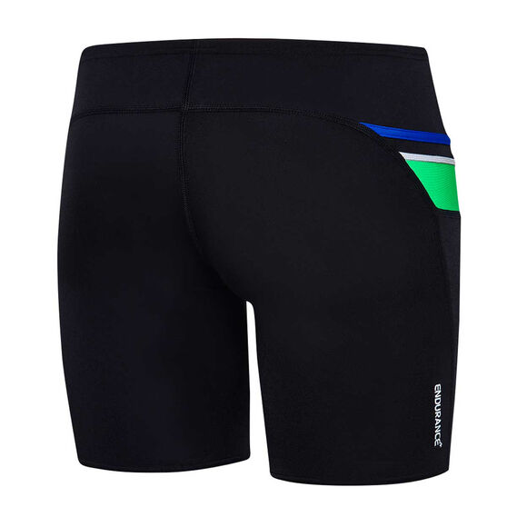 Speedo Boys Maca Jammer Swim Shorts, Black / Green, rebel_hi-res