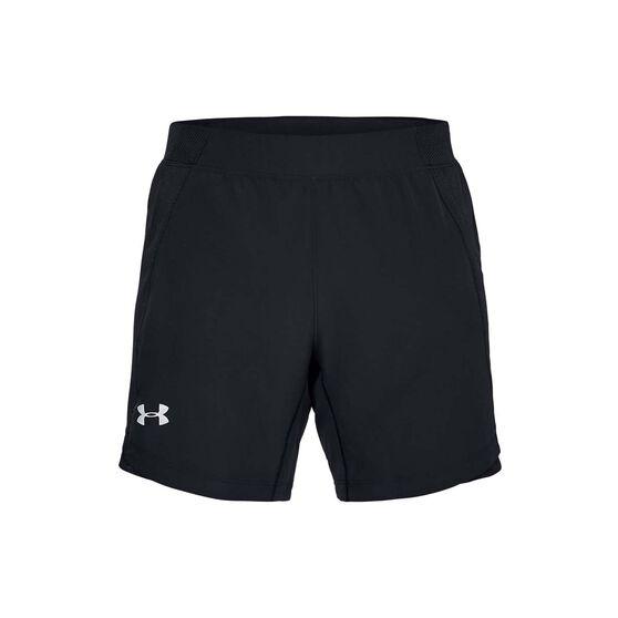 Under Armour Mens Qualifier Speedpocket 7in Running Shorts, Black, rebel_hi-res