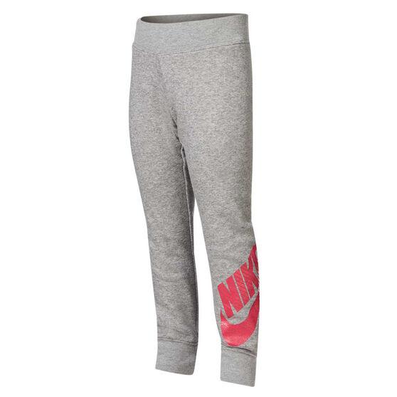 Nike Girls Futura Fleece Pants, Grey / Pink, rebel_hi-res