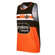 Wests Tigers 2021 Mens Training Singlet Black/Orange S, Black/Orange, rebel_hi-res