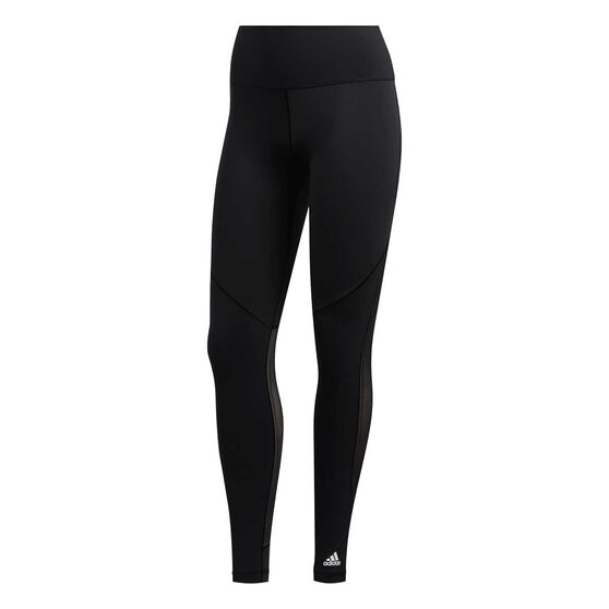 adidas Womens Believe This 3-Stripes Mesh Long Tights, Black, rebel_hi-res