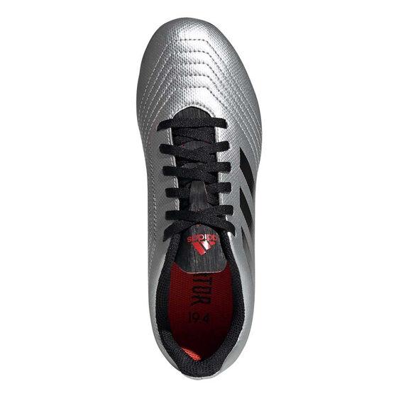 adidas Predator 19.4 FXG Kids Football Boots, Silver / Black, rebel_hi-res