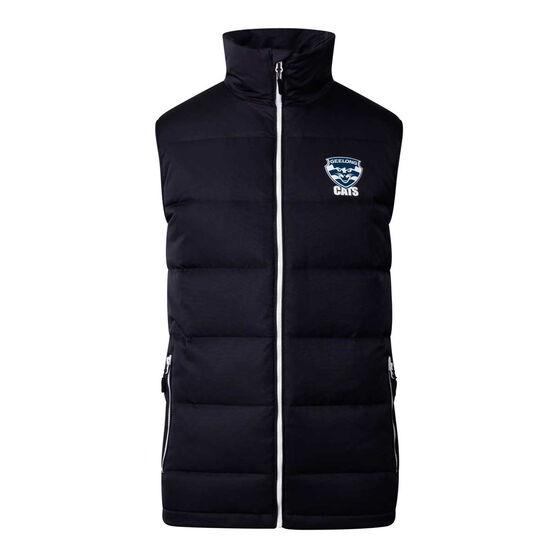 Geelong Cats 2020 Mens Down Vest, Black, rebel_hi-res
