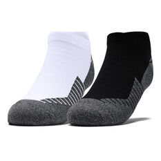 Under Armour Kids Run No Show Tab Socks, Black / White, rebel_hi-res