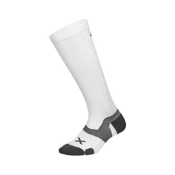 2XU Mens Vector Full Length Socks, White / Grey, rebel_hi-res