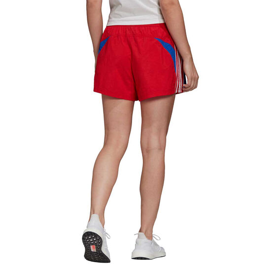 adidas Womens Colourblock 3-Stripes Shorts, Red, rebel_hi-res