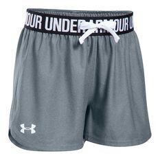 Under Armour Girls Play Up Shorts Grey / Black XS, Grey / Black, rebel_hi-res