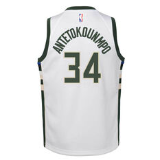 Nike Milwaukee Bucks Giannis Antetokounmpo Association 2020/21 Kids Swingman Jersey White S, White, rebel_hi-res