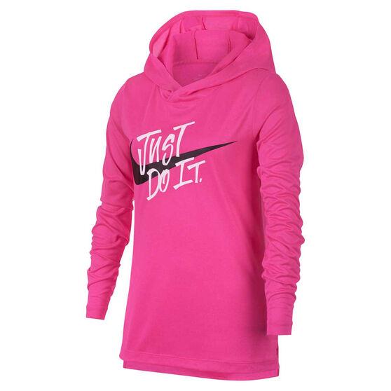 Nike Girls Dri FIT Training Hoodie Pink L, Pink, rebel_hi-res
