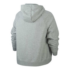 Nike Womens Sportswear Essentials Full Zip Hoodie Plus Grey XL, Grey, rebel_hi-res