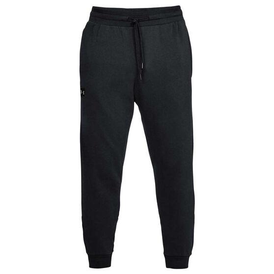 Under Armour Mens UA Rival Fleece Jogger Pants, Black / White, rebel_hi-res