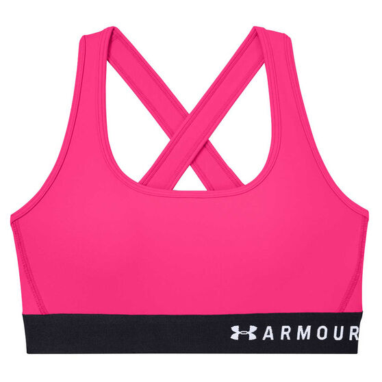 Under Armour Womens Mid Crossback Sports Bra Pink XS, Pink, rebel_hi-res
