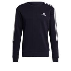 adidas Mens Volume Fleece 3 Stripes Cut Sweatshirt Navy L, Navy, rebel_hi-res