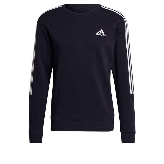 adidas Mens Volume Fleece 3 Stripes Cut Sweatshirt, Navy, rebel_hi-res