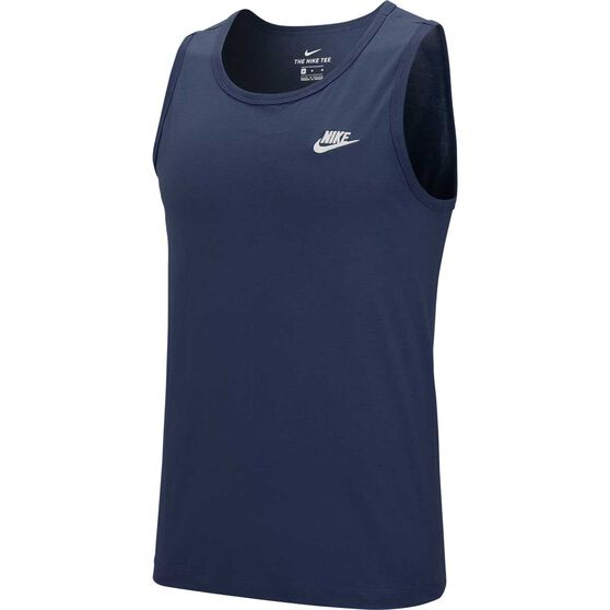 Nike Sportswear Mens Embroidered Club Tank, Navy / White, rebel_hi-res