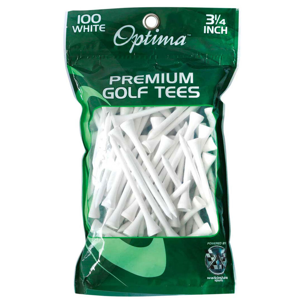 Optima Wooden Golf Tees 100 Pack White 3 1 / 4in